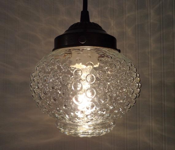 PENDANT Light Of Vintage HOBNAIL Globe Kitchen Clear By