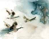 Canada geese- Nature art-Original watercolor painting 8x10 inch