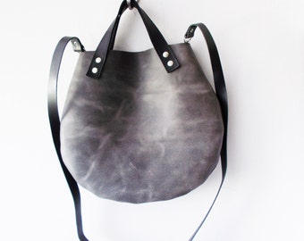Gray  Leather basket hand bag ,Cross-body Bag, Every day leather bag