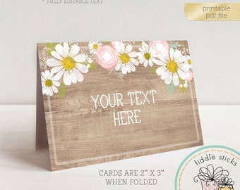 Printable Daisies Table Cards, Food Table Cards, Buffet Table Cards, Dessert Table Cards, Name Cards, Place Cards, PDF File w/ Editable Text