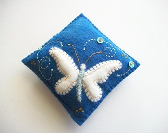 Pincushion Dark Blue Felt Needle Keeper with Hand Embroidered Raised Felt Butterfly Flower Sequins and Swirls Handsewn