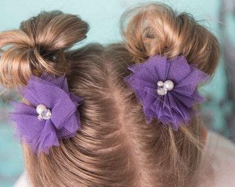 Purple hair clips, mini hair clip, set of 2, flower hair clip, purple piggy tail clips, baby hair clip, toddler hair clip, baby shower gift