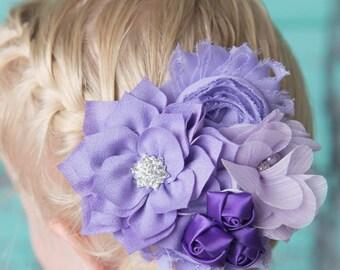 purple hair clip, lavender flower hair clip, flower girl accessory, bridal hair clip, rosette hair clip, girl birthday gift, baby hair clip