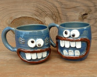 His Hers Mug Set. Mr Mrs Coffee Cup Pair. Gift for the Couple. Matching Pottery Coffee Cups. Funny Face Mugs for Man Woman.