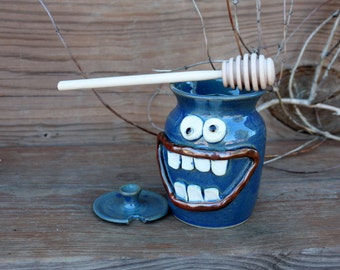 Honey Keeper with Wooden Dipping Stick. Stoneware Clay Pottery Honey Jar. Ug Chug Smiley Face. For the Chef Cook Foodie Honey Lover. Blue.