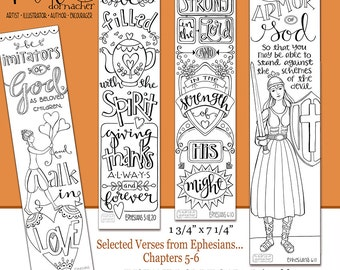 Ephesians 5-6 Color Your Own Bookmarks  Bible Journaling Illustrated Faith INSTANT DOWNLOAD Scripture Digital Printable Christian
