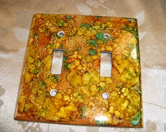 BUBBLES - Hand Painted Light Switch Plate, Double Switch, Earth Tones