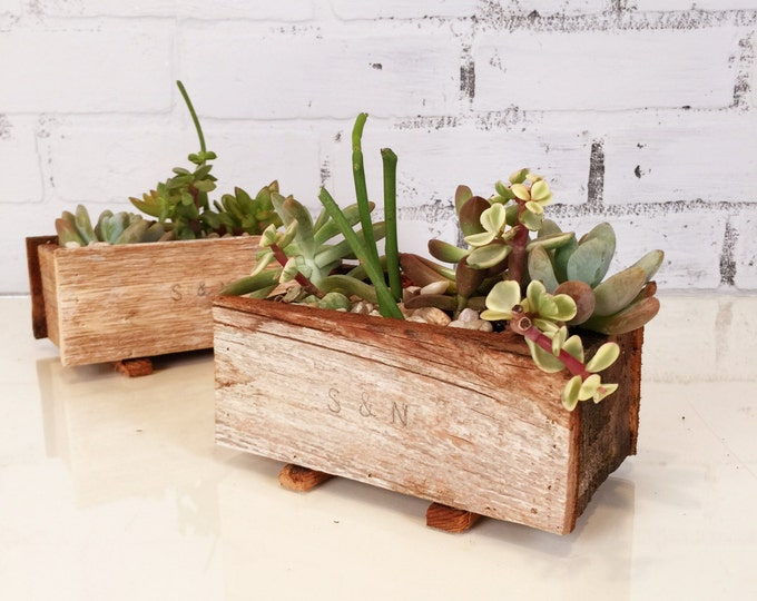 Handmade Reclaimed Wood Succulent Planter Box - Small Planter Wedding Decoration - Can Be Personalized with Initials