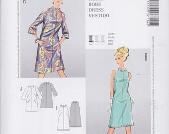 Burda Style Pattern 7114 Retro 70's Style Semi-Fitted Dresses with Stand Collar and Cut In Armholes For Work or Parties Misses' 10 - 18
