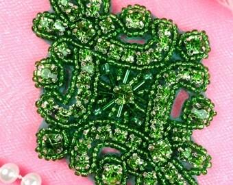 "JB115 Glass Rhinestone Applique Green Beaded Hair Accessory 4"" (JB115-gr2)"