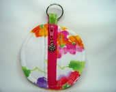Ear Bud Pouch in Watercolor Floral - Coin Pouch - Key Pouch - Purse Accessory - Ready To Ship