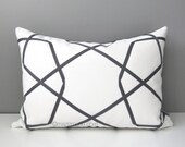 Grey & White Geometric Pillow Cover, Modern Outdoor Pillow Cover, Decorative Throw Pillow Case, Charcoal Lattice, Sunbrella Cushion Cover
