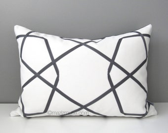 Grey & White Outdoor Pillow Cover, Modern Geometric Pillow Cover, Decorative Pillow Case, Gray Throw Pillow Cover, Sunbrella Cushion Cover