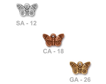 TierraCast Spiral Butterfly Charm - pewter with antiqued finish - choose from silver, copper or gold - insect nature garden jewelry charm