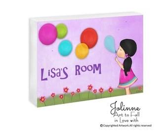 Personalized door plaque, pink name sign, girls room door plaque,name plaques,baby name signs,kids room signs,custom door signs