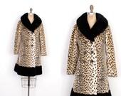 Vintage 1960s Coat / 60s Leopard Print Faux Fur Coat / Black and Brown (XS S)