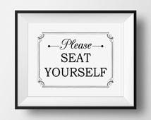 Bathroom Art, Please Seat Yourself Wall Art, Funny Bathroom Art, PRINTABLE, Best Seller, Bathroom Printable, Funny Bathroom Sign