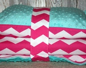Kinder Nap Mat Cover - Pink Chevron with Teal Minky - Ready To Ship