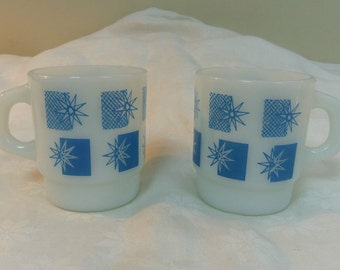 Anchor Hocking Fire King, 2 Blue Star Stackable Milk Glass Mugs with D Handles