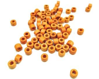 Apricot orange tube beads, apricot orange ceramic beads, 6mm mykonos beads, greek ceramic beads, rustic beads (50)