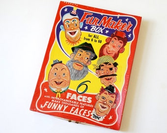 Vintage 1950s Toy / 1956 Saalfield Fun Maker Box VGC / Six Face Puzzles With Interchangeable Features, Childrens Room Artwork
