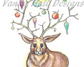 Set of 5 Holiday Jackalope Cards (Christmas Xmas)