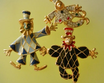 60s Enamel Articulated Dancing Clown Jester Pins Brooches -3 lovable brooches for smilling collection-Enameled Clown Figural Pin-art.687/3-