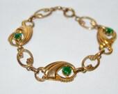 Vintage Gold Plated Green Rhinestone Bracelet . Scroll Design . Link Bracelet