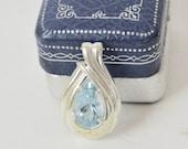 Vintage Sterling Blue Glass Pendant . Tear Drop . Unique