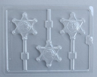 Sherriff Badge Chocolate Lollipop Mold, Sherriff Candy Mold, Sherriff Chocolate Mold, Western Birthday Party
