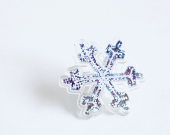 Snowflake Cupcake Toppers (set of 12) Sparkly Snowflake Toppers, Frozen Cupcake Rings