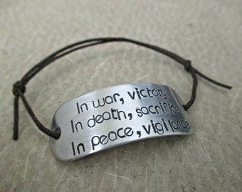 in war, victory - hand stamped dragon age grey warden inspired aluminum adjustable cord bracelet