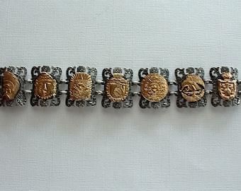 Mexican Silver Bracelet 18K Gold
