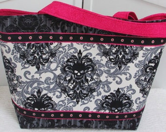 Hot Pink Damask Skulls large Tote Bag ,Black and White Gothic Skull Shoulder Bag, Alternative Fashion , Rocker Chic Purse Ready to Ship