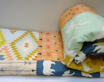 Tribal Baby Quilt-Modern Woodland-Aztec-Arrows-Bear Hike-Deer-Elk-Buck-Mint-Blue-Peach-Baby Blanket Art Gallery