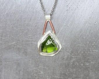 Raw Tumbled Green Arizona Peridot Necklace Silver Copper Alpine Wanderlust Mountain Top August Birthstone Gift Idea Adventurer - Seilbahn