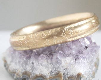 Victorian Bangle Bracelet, Hinged, Gold Fill With Pretty Etched Flowers, Gift For Her, Shabby Chic, Boho Chic Style Jewelry