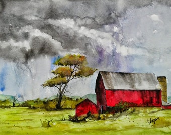 Original colorful print LANDSCAPE original watercolor original painting modern LANDSCAPE PAINTING, Red Barn