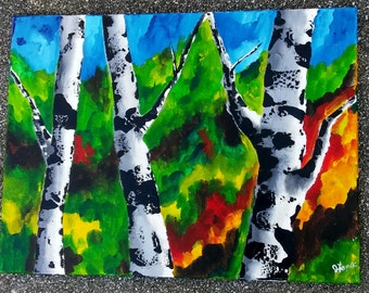 "BIRCH TREE ART- Original Acrylic Landscape Painting, Birch Tree Art, 18"" x 24"" Modern Art, Aspen, Silver Birches, Birches."