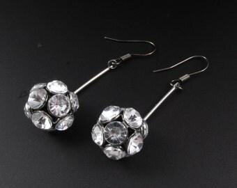 Rhinestone Earrings, Rhinestone Ball Earrings, Rhinestone Dangle Earrings, Disco Ball Earrings, Plastic Rhinestone Earrings