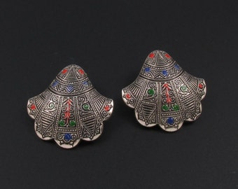 Germany Aluminum Earrings, Germany Jewelry, Pre War Jewelry, Aluminum Jewelry, Enameled Earrings, Scallop Shell Earrings