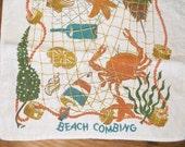 Vintage BEACH COMBING Linen Dish Towel