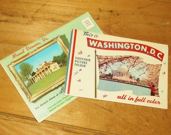 2 Vintage Postcard Folders • This Is WASHINGTON, D.C. & MOUNT VERNON, Va.