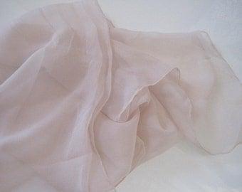 Long Pale Pink Chiffon Sheer Matte Scarf