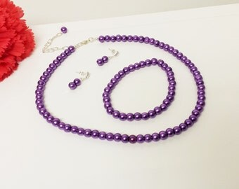Perfect Purple Pearl Necklace Set - Bridesmaid Jewelry Set - Flower Girl Pearl Gift Set - Bridal Set - Prom Jewelry - Classic 3 Piece Set