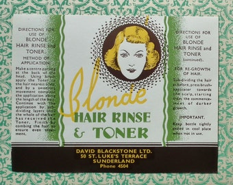 Vintage 20s 30s Bottle Label Blonde Hair Rinse & Toner Sunderland England - beauty products hair dye hairdressing advertising paper ephemera