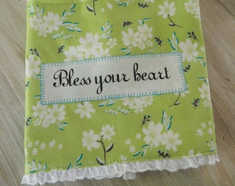 Bless your heart Dish Towel, green floral towel, southern deor