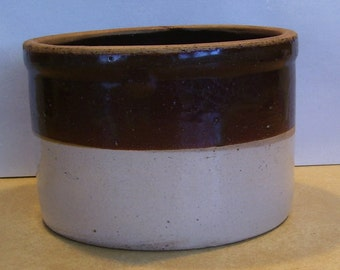 Antique Brown and Beige Farm House Crock,  7 1/4 inches - 5 Inches High, Ironstone, Farm House Primitive, Antique Crock, Brown Storage Crock