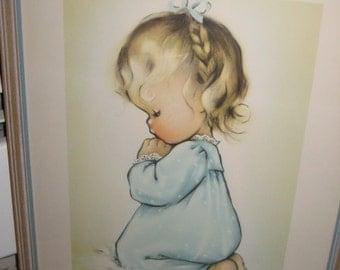 Child Praying Vintage Print/Nursery Decor/
