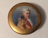 """Antique Porcelain or China 1 1/8"""" Hand Painted or Transfer Stud Button of Washingtonian Man"""